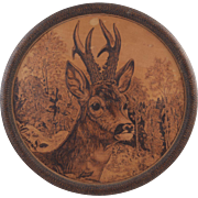 "Antique Pyrography Stag/Deer Burned Wood Wall Plaque Flemish Art 14"" Dia. Hunt Scene"
