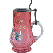 Victorian Cranberry & Enamel Miniature Stein w/Pewter & Milk Glass Lid Antique