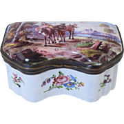 18th Century Bilston Enamel Table Snuff Box or Bonbonniere Staffordshire Antique
