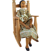 "Vintage Appalachian Hand Carved Artist Peg Doll Mountain Woman Signed ""McC 79"" w/ Split Seat Rocker"