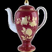 "Vintage Wedgwood Tonquin Ruby Porcelain Coffee Pot Large 10"" Size"