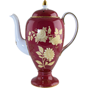 "Vintage Wedgwood Tonquin Ruby Porcelain Coffee Pot Large 10"" Size"