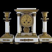 Antique French Empire Style White Marble & Bronze Portico Clock Set Diminutive Size