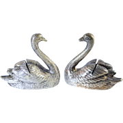 Vintage Silver Plate Figural Swan Place Card Holder Set of 8 w/Box