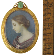 Antique Miniature Portrait of Woman in 14K Gold & Turquoise Brooch/Pin Hubbard Family