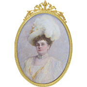 Cornelia Faber Fellows (1857-1925) Miniature Portrait of Grande Dame Socialite PA/Kansas c1890