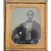 Rare African American Ambrotype Photo 1/6 Plate w/Tinted Cheeks c1850s