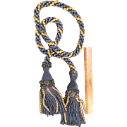 Vintage French Tassel Tieback Blue/Gold Tie Back for Drapery