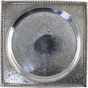 Antique Sterling Engraved Square Tray Peter rider Claret or Wine Coaster Stand 429.5 grams