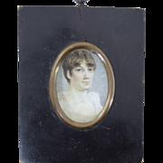 Georgian Miniature Portrait of Regency Young Lady Antique