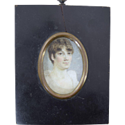 Georgian Miniature Portrait of Regency Young Lady Antique