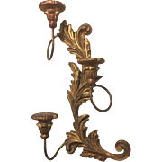 Vintage Palladio Carved Gilt Wood Candle Sconce Italian Rococo Style