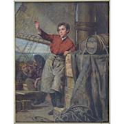Pierre Jean Edmond Castan (French 1817-1892) Cabin Boy on Ship dated 1866 Oil on Panel Painting