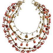 Stephen Dweck 5 Strand Gemstone Necklace Coral Agate Whisky Quartz & Bronze