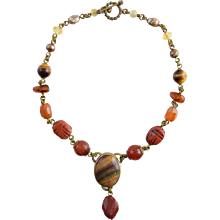 Stephen Dweck Gemstone Necklace Jasper Scarab Agate Carnelian Tiger Eye Quartz Amber & Bronze
