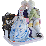 Antique Figural Porcelain Inkwell Couple w/Piano Conta & Boheme Concealed German Fairing
