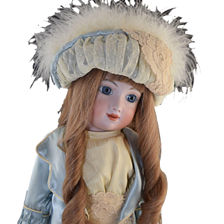 1980 Sally Freeman Artist Doll French AT Bisque Human Hair Wig Clothing by Polly Ford Peak Doll Enterprises