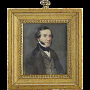 Miniature Portrait of a Gentleman w/Checkered Vest & Mutton Chops mid 19thc