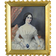 Miniature Portrait of a Lady in White Dress w/Jewelry & Flower c1830
