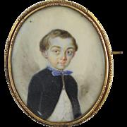 Miniature Portrait of a Boy Child French c1850s Antique Brooch