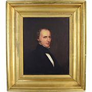 c1830 American Portrait of Rev. John Goldsbury of Warwick MA Small oil on panel