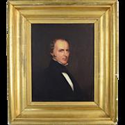 c1830 American Portrait of Rev. John Goldsbury of Warwick MA Small oil on panel