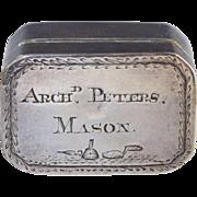 1812 Masonic Georgian Sterling Silver Nutmeg Grater Box by Joseph Wilmore