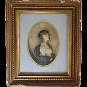 Rare 1811 Baltimore Johann Rauschner Wax Miniature Portrait of Miss Charlotte Muller