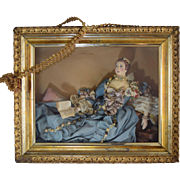 Rare Antique Composition Doll in Shadowbox 18th Century Lady Reading Book Amazing!