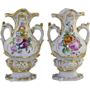 Beautiful Pair of Old Paris Porcelain Vases in Rococo Style w/Painted Botanicals 9 1/2""