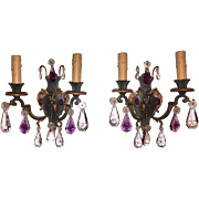 Vintage Pair Bronze Wall Sconces w/Amethyst Purple Prisms & Green Verdigris Paint Re-wired
