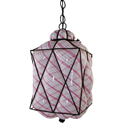 Vintage Seguso Murano Latticino Caged Glass Pendant Light Pink/White Mid-Century