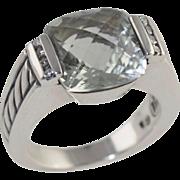 David Yurman Prasiolite & Diamond Ring Sterling Silver Size 6