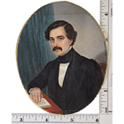 Miniature Portrait of Gentleman with Book by Flavien Emmanuel Chabanne (French 1799-1864)