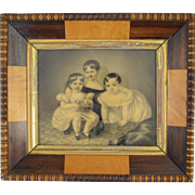1830s Miniature Portrait Three Children by Maria Rosina Giberne (British 1802-1885) Maitland Wilson Family of Stowlangtoft Hall Suffolk