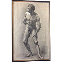 1889 Original Male Nude Charcoal Drawing Paris Academic Antique French Signed