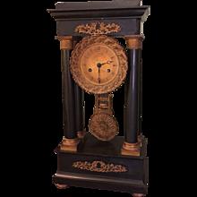Antique French Empire Black Marble & Bronze Portico Column Clock
