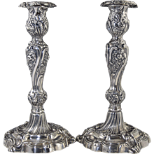 Pair 1836 William IV English Sterling Silver Candlesticks by Henry Wilkinson & Co.