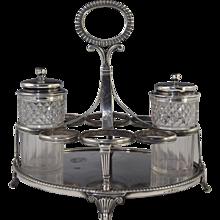 1812 George III Sterling Silver Cruet Stand Adams Style Georgian