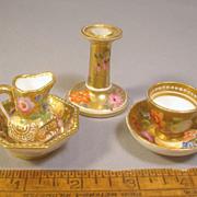 Antique c1820 Spode Toy Miniature Porcelain Set, Cup & Saucer, Ewer & Basin, Candlestick