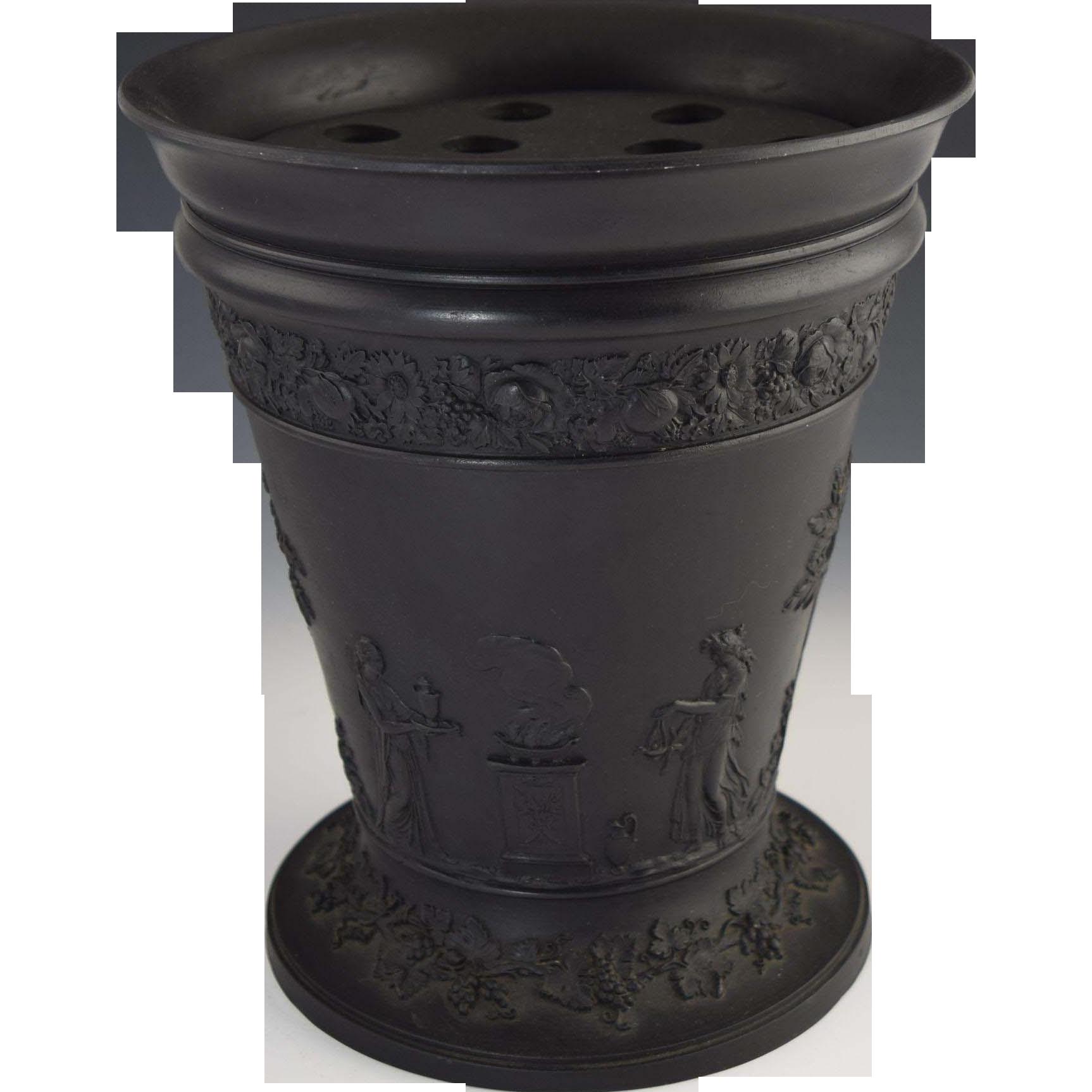 Basalt Flower Pots : Vintage quot wedgwood black basalt vase with flower frog