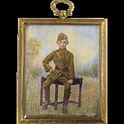 Charles J. Fox (AKA Leo Fox, Irving Resnikoff) American Portrait Miniature of Boy in WWI Officers Uniform! c1919
