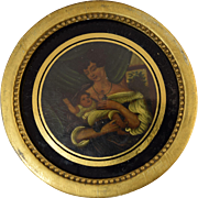 Early 19th Century Miniature Painting Mother and Child on Papier Mache, gilt wood frame