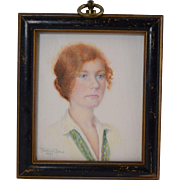 Florence Sims 1930 Miniature Portrait of Striking Red Head