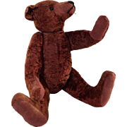 """Vintage 16"""" Stuffed Teddy Bear Fully Jointed w/Glass Eyes and Unusual Red Mahogany Colored Mohair"""