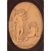 Antique Hand Carved Wood Plaque Cherubs Fishing Framed in Velvet Wood Shadow Box Frame