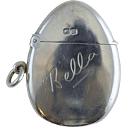 """Unusual 1907 Egg Shaped English Sterling Silver Match Safe Vesta """"Bella"""""""
