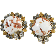 "Vintage c1950 ""Robert"" Signed Clip Earrings Rhinestone & White & Gold Aventurine Venetian Glass"