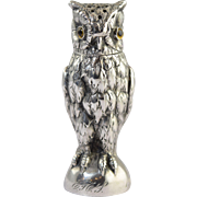 """Antique German 800 Silver Figural """"Owl"""" Pepper Shaker Dated 1912"""