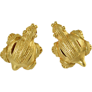 "Vintage 800 Vermeil Silver Italian Etruscan ""Ancient Roman Turtle"" Earrings 20.2g"